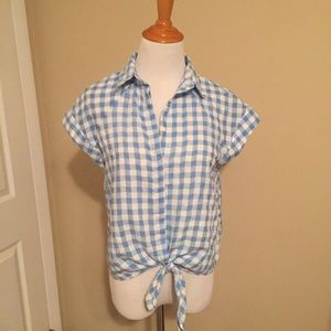 LF Button down collared short sleeve top